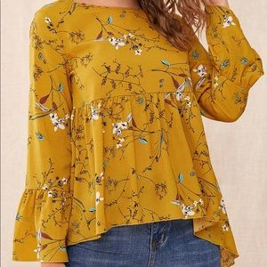 SHEIN Mustard Floral Peplum Long Sleeve Top